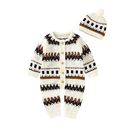 0-18 Months,SO-buts Newborn Baby Girls Boys Cotton Knitted Sweater Romper Long Sleeve Jumpsuit Outfits Hat Set Autumn Winter Clothes Coat (White, 6-12 Months)