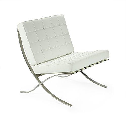 mueblespacio Replica Silla Barcelona - MSD1561920 - Blanco, Acero Cromado