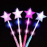 Barritas Luminiscentes, 4 Unidades Luminoso Hueco Estrellas Barra Luminosa LED Palillo Ligero Mágico Estrellas Barritas Luminiscentes para Niños Concierto favor de Fiesta - aleatorio color, free size