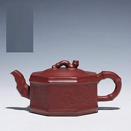 Hyy-yy Tetera de arcilla púrpura teteras, alta subida, ocho cuadrados púrpuras calcomanías rojas