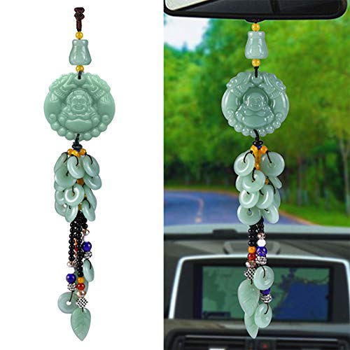 Car Hanging Decoration, Dangling Ornaments Vehicle Accessory Rearview Mirror Charms Pendant Buddha Safety Button Car Pendant Amulet Pray for Luck Safety Green
