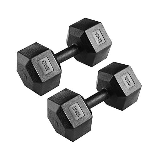 Holdfiturn 2x10kg Hexagon Dumbbell Hex Dumbbell Men's Home Fitness Equipment Gym Strength Training Black