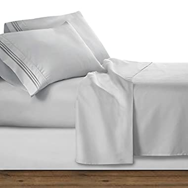 Clara Clark Premier 1800 Collection Deluxe Microfiber Three Line Bed Sheet Set, Silver Light Gray, King
