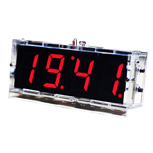 KKmoon Kompakte 4 Stellige DIY LED Digitaluhr Kit Light Control Temperaturanzeige Datum Zeit mit transparenten Etui (Rot)