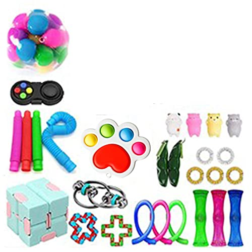 Nani?Wear Cheap Fidget Toy Set, Anxiety Fidget Toy Box for Kids & Adults,Stress Relief Hand Toys Anxiety Tools Stocking Stuffers, Sensory Therapy Toys for ADHD Autism Stress Anxiety (28pcs)