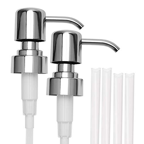 Satisfounder 304 Stainless Steel Soap and Lotion Dispenser Pumps, 2 Packs, Replacement Pumps for Your Bottles Fit Standard 8oz / 16oz Boston Round 28/400 Neck Bottles