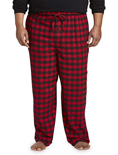 Amazon Essentials Men's Big & Tall Flannel Pajama Pant fit by DXL, Red Buffalo Plaid, 5X
