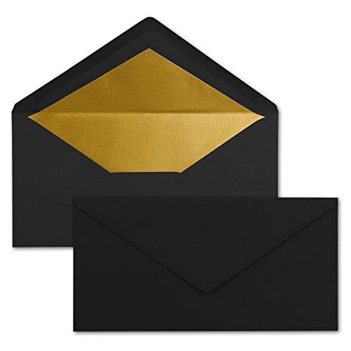 50 Brief-Umschläge DIN Lang - Schwarz mit Gold-Metallic Innen-Futter - 110 x 220 mm - Nassklebung - Festliche Kuverts für Weihnachten