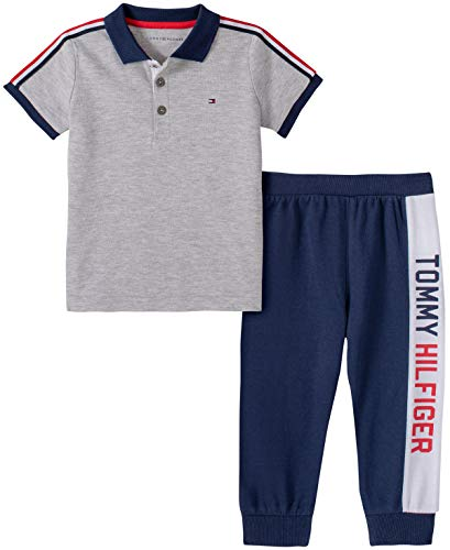 Tommy Hilfiger Baby Boys' 2 Pieces Polo Pants Set, Grey/Navy, 18M