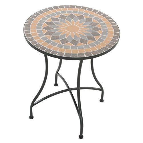 colourliving Mosaiktisch Kaffeetisch Balkontisch Gartentisch rund Metall ø 60 cm Balkon Tisch Mehrfarbig Beistelltisch Verschiedene Motive (Menorca)