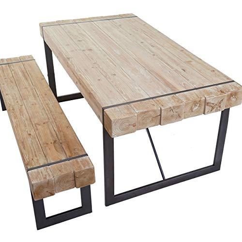 Mendler Esszimmergarnitur HWC-A15, Esstisch + 1x Sitzbank, Tanne Holz rustikal massiv - naturfarben 200cm