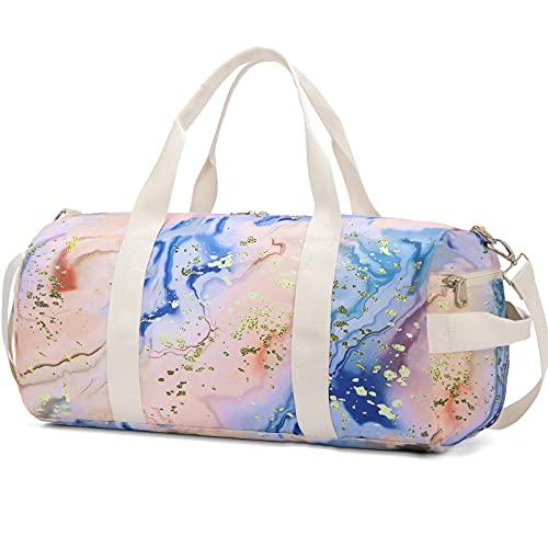 Sport Gym Duffle Travel Bag for Men Women Duffel with Shoe Compartment, Wet Pocket (Marble Orange)