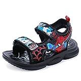Xyh723 Bambini Spiderman Sandali Ragazzi Scarpe Estive Antiscivolo Outdoor Zoccoli con Suola Morbida Unisex Scarpe Sportive da Supereroi da Spiaggia Casual,Black-33/20.6CM