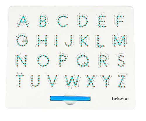 MA-KU-HANDEL Große Buchstaben ABC Zaubertafel mit Kugeln und magnetischem Stift
