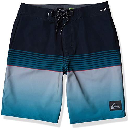 Quiksilver Men's Slab 20 Inch Length Stretch Boardshort Swim Short, Black/Turquiose, 36
