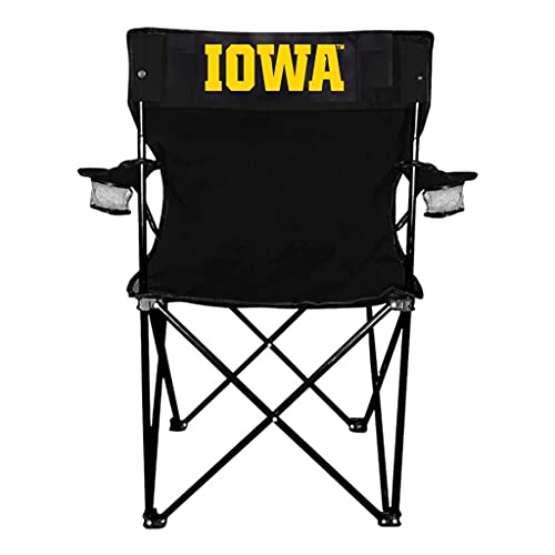 VictoryStore Outdoor Camping Chair - University of Iowa Iowa Black Folding Camping Chair with Carry Bag