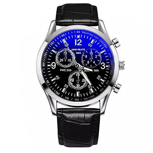 Reloj de cuarzo de cuero de la PU de los hombres 1pc de la correa de reloj de lujo Blue Ray vidrio de reloj superior del reloj del mejor regalo para el padre del novio (negro banda con Dial Negro)