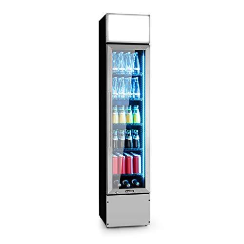 Klarstein Berghain Pro Getränkekühlschrank, 160 L, 40x188x49,5cm (BxHxT) Slim, Temperaturen: 2-8 °C, Werbefläche, abschließbar, Glastür, RGB-Ambiente Innenbeleuchtung, Edelstahl, Flaschenkühlschrank