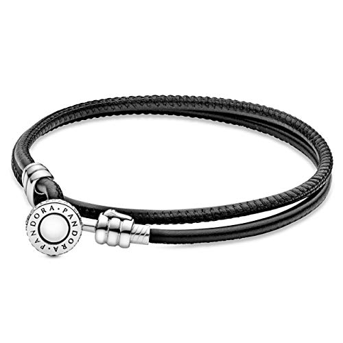 "Pandora Jewelry Double Leather Cubic Zirconia Bracelet in Sterling Silver, 13.8"""
