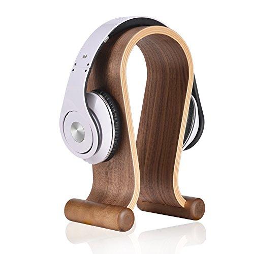 SAMDI Holz Kopfhörer Ständer Halter/Schreibtisch Headset Aufhänger/Kopfhörer Halter Gaming Headset Halterung - On Ear Headphone Stand (Schwarze Walnuss)