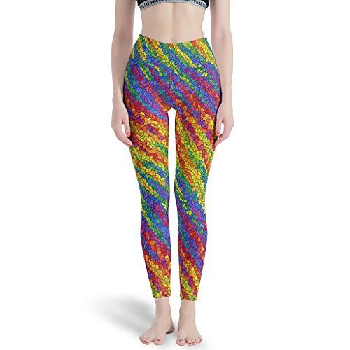 Ballbollbll Rainbow - Pantalones de yoga para mujer, cintura alta y control de barriga, sper suaves, para correr en la escuela, para uso diario, ocio, blanco