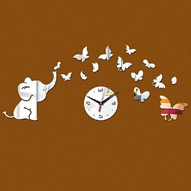 yroar Clocks acrylique horloge à quartz Horloge murale Baby Elephant Papillons Art Design moderne DIY 3d miroir dECOR Sticker argent