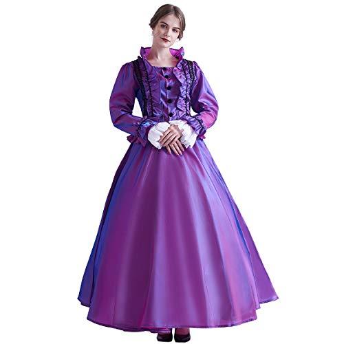 GRACEART Damen Gothic Viktorianisches Kleid Renaissance Maxi Kostüm (XL, Lila)