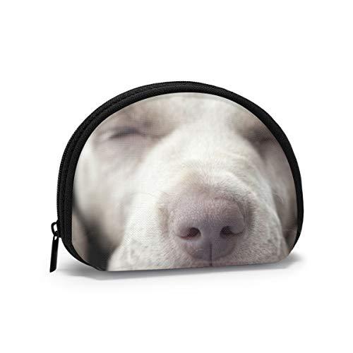Little Weimar Puppy Dog Sleep Front Animali Fauna Selvatica Natura Donna Ragazze Shell Cosmetici Make Up Storage Bag Monete per la spesa all'aperto Portafoglio Organizer