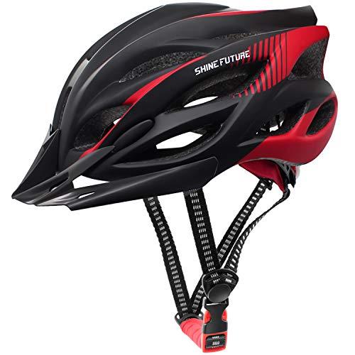 Casco da ciclismo per adulti, anello interno regolabile Caschi da bici leggeri Casco da bicicletta per uomo e donna Casco da bici da strada e da montagna con visiera staccabile e luce LED posteriore