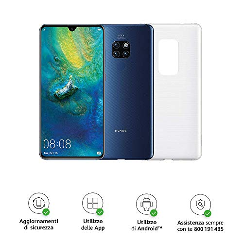 "Huawei Mate 20 (Blu) più Cover Originale, Telefono con 128 GB, Display 6.53"" Full HD+, Processore Octa Core dinamico con Intelligenza Artificiale"