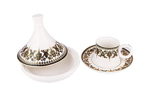Hayal | Türkische Kaffee Set | mit Zuckerdose | Design | für 6 Personen | Fine Porzellan | Weiß | Schwarz | Gold |