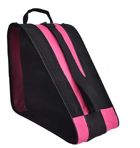 FOUUA Roller Skate Bag - Unisex Ice Skate Bag with Adjustable Shoulder Strap - Breathable Oxford Cloth Skating Shoes Storage Bag Without Unpleasant Smell Roller Skate Accessories (Pink)
