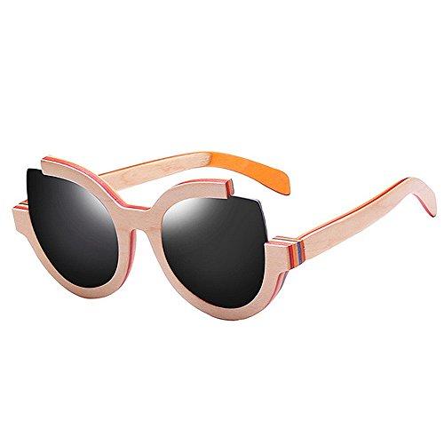 Tangyu Gafas de Sol con Ojo de Gato para Mujeres, Madera polarizada Vintage, protección contra el Rizo para Pescar, protección UV (Color : Pink)