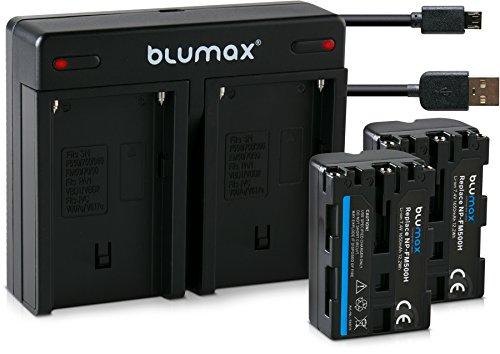 Blumax 2X Akku 1650mAh ersetzt Sony NP-FM500H/NP-FM500 + Mini Dual-Ladegerät USB kompatibel mit Sony Alpha 68 Alpha 58 Alpha 99II