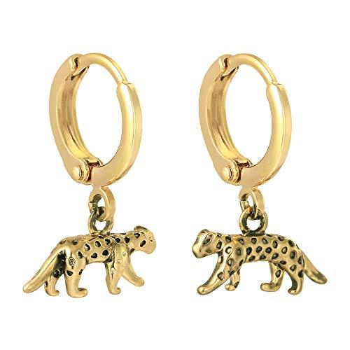 14K vergoldete Creolen - Wild Animal Style - Nickelfrei - Glücksleopard - Premium Design Damen Modeschmuck