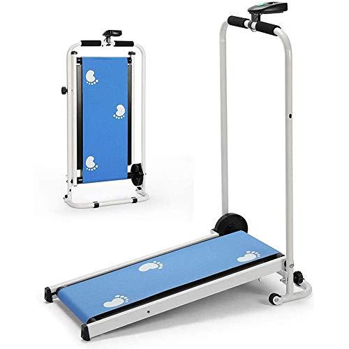 KLY Klappbares Mechanisches Mini Laufband mit Display, Nicht Motorisierte Jogging Maschine 75 * 29 cm Laufband - für Zuhause/Büro (ROSA/BLAU),Blau