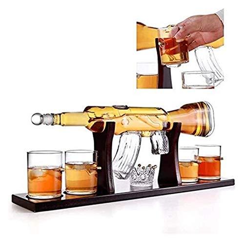 AMDHZ M16 Decantador de Armas, 1000 ml imitación M762 Conjunto de Vino de Vidrio con Forma de Pistola, con 4 300 ml de Vidrio de Tiro, Dispositivo de Agua de Whisky DEC Decantador de Whisky