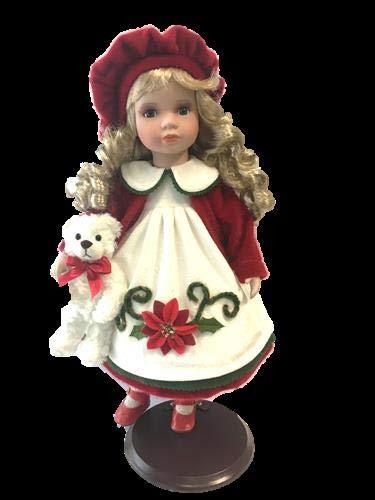 rf collection Porzellan-Puppe, Creme/rot, Hut & Teddy, 47 cm, Holzständer