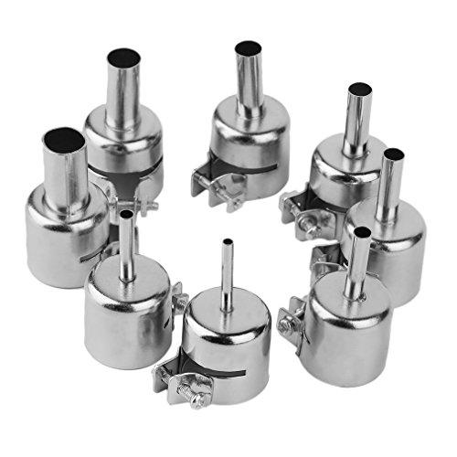 8 STUKS Heteluchtpistool BGA Nozzles Tool Kits Voor 850 852D Serie Hot Air Soldeerstation Rework ICs Reparatie Tools Nozzle Zilver