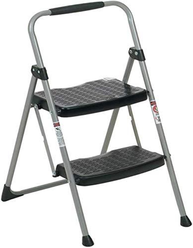 Kneeling Chair QIQIDEDIAN Trittleiter, zusammenklappbar, aus dickem Eisen, strapazierfähig, 2 Stufen, Hocker, Schwarz, 45 x 53 x 87 cm