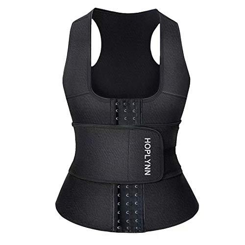 HOPLYNN Neoprene Sauna Sweat Waist Trainer Corset Trimmer Vest for Women Tummy Control, Waist Cincher Body Shaper Black Medium