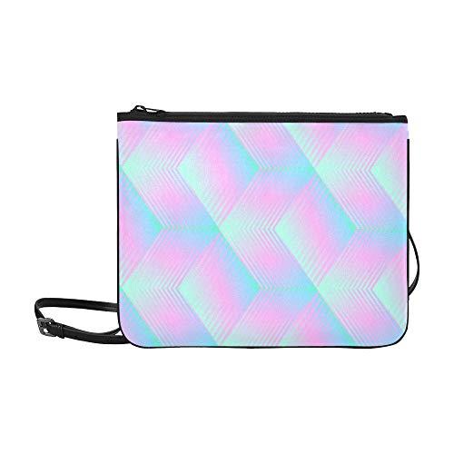 WYYWCY Stereo Color Block Rainbow Color Pattern Benutzerdefinierte hochwertige Nylon Slim Clutch Bag Cross-Body Bag Umhängetasche