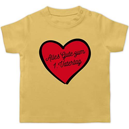 Vatertagsgeschenk Tochter & Sohn Baby - Alles Gute zum 1. Vatertag - schwarz/rot - 3/6 Monate - Hellgelb - Geschenk zum 1. Vatertag - BZ02 - Baby T-Shirt Kurzarm