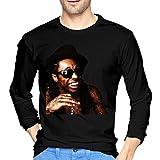 Photo de DCEGas Lil Wayne T-shirt à manches longues en coton pour homme Noir - Noir - M