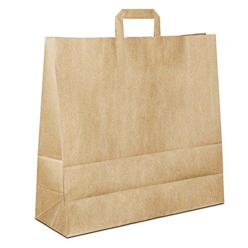 50 x Papiertragetaschen braun 45+16x43 cm | stabile Papiertüten | Paper Bags Flachhenkel | Papiertaschen Groß | Einkaufstasche | HUTNER