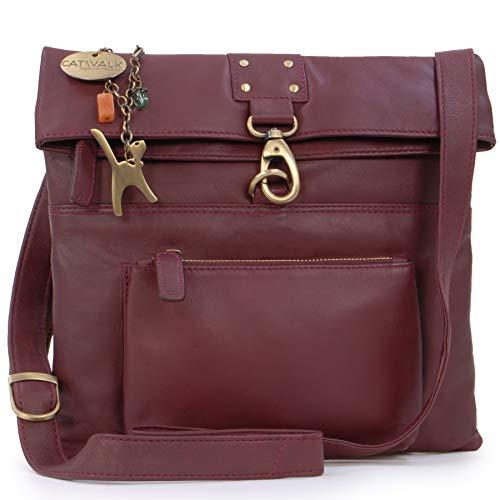 Catwalk Collection Handbags - Vera Pelle - Borse a Tracolla/Borsa a Mano/Messenger/Borsetta Donna - Con Ciondolo a Forma di Gatto - Dispatch - ROSSO