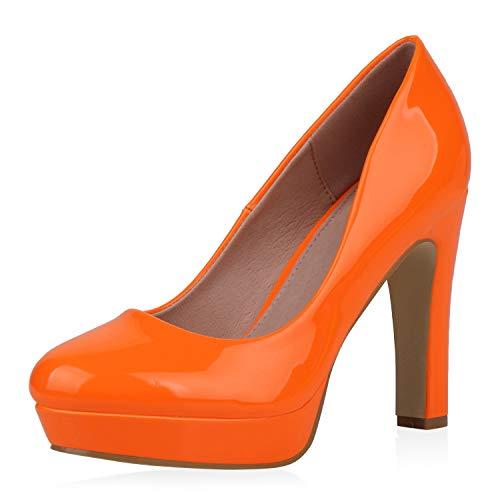 SCARPE VITA Damen Plateau Pumps Lack High Heels Plateauschuhe Stiletto Party Schuhe Klassische Abendschuhe Absatzschuhe 192668 Orange 39