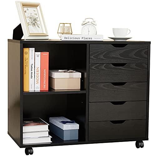 HOSEOKA Lateral File Cabinet for Home Office, 5 Drawer Storage Cabinet, Rolling Filling Cabinet with Adjustable Shelf, Black