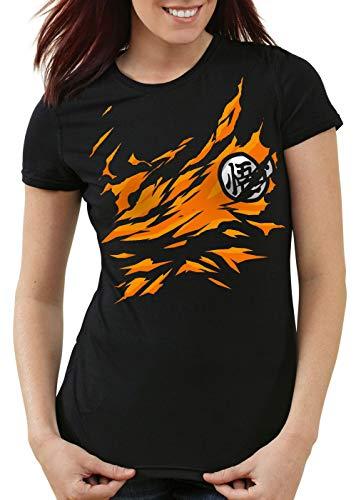 style3 Poitrine Goku T-Shirt Femme Songoku Dragon z Super Saiyan Turtle Ball, Couleur:Noir, Taille:M