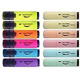 MP - Subrayadores Pastel y Fluorescentes, Punta Biselada - Estuche 12 Marcadores Multicolor